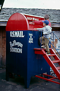 1974-09 - Jeff & Randy - sending a note from Paul Bunyan Station
