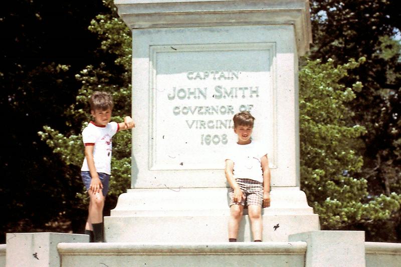 Randy & Jeff stand next to Capt. John Smith statue