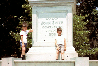 Randy & Jeff stand next to Capt. John Smith statue