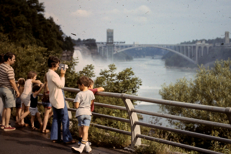 Jo filming at Niagara Falls with Randy & Jeff