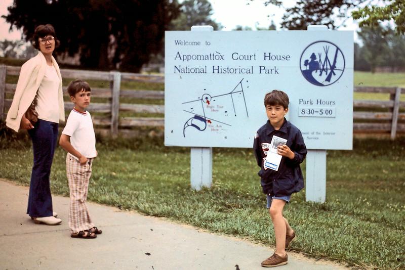 Jo, Randy & Jeff at Appomattox Court House sign