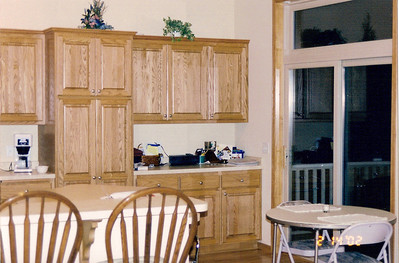 Kitchen cupboards seen from great room