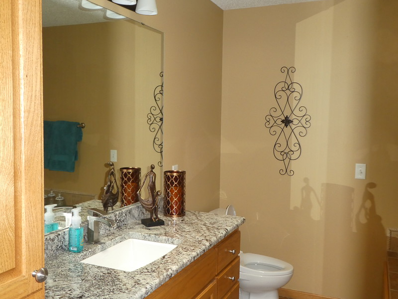 Master bathroom. Added accent pieces and wall handing