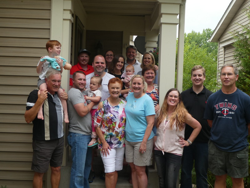 Front: Dwaine, Judah, Matt holding Gabi, Vadis, Christy, Jodee; Next row: Josh, Colie holding Elise, Christy, John, Brad; back: Jeffrey,Julie, Doug, Katie. Kelly  took the picture.