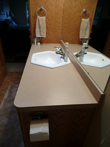 Sink and counter in master bathroom - before