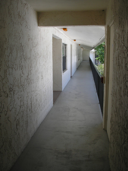 View down the hallway from our storage locker area and stairwell