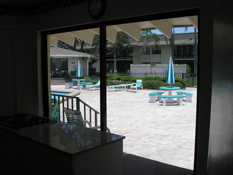 View from kitchen area of Community Building