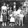 September 1953, Jim and Myrtle Drewett with their grandchildren, Karen Drewett, Becky Howard, Judy Drewett, Bob Reynolds, John Reynolds, Jim Howard, Jean Reynolds, Kelly Howard