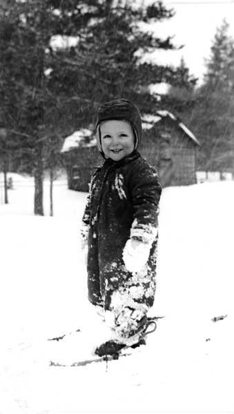 Bob 2 1/2, West Yellowstone, MT, winter 1948. I ran away from home on skis but somehow Mom was able to track me down.