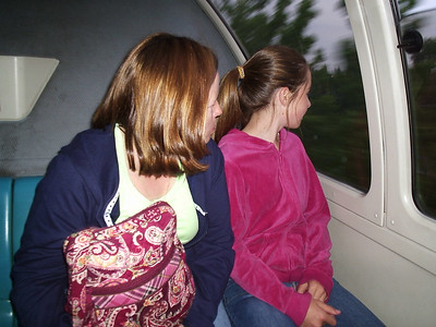 Emily and Annie  on the monorail