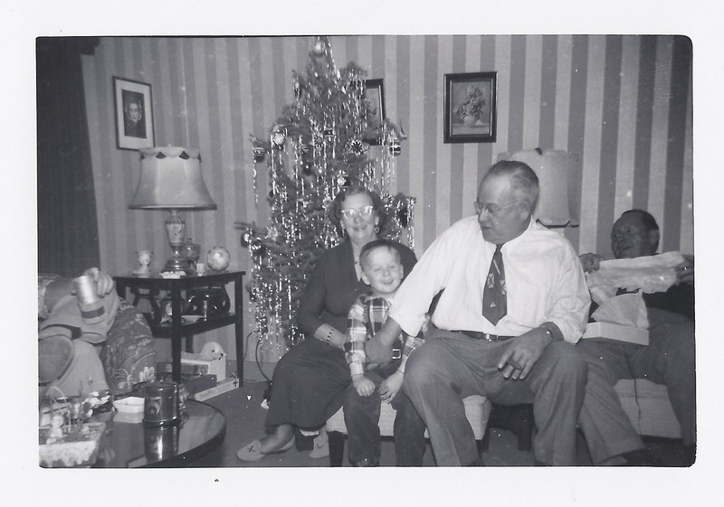 John David with Nani and Grandpa Badders Christmas 1953