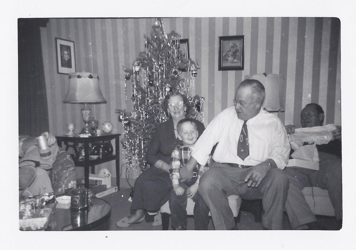 John David with Nani and Grandpa Badders Christmas 1953