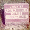 Ada was buried in the Ridge Cemetery, south of Kempton, in Hamilton County, IN, and the stone was apparently placed by her mother rather than her husband. The death date is incorrect.