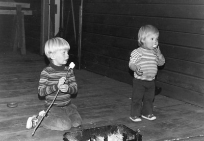 Tonya's very 1st marshmallow!  Sept 1973 at the Boore's cabin.