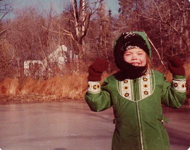 Tonya on the pond by my childhood home on Nichols Street, Danvers. Dec 1978