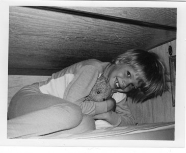 1977.   Chris inside his grandfather's camper.