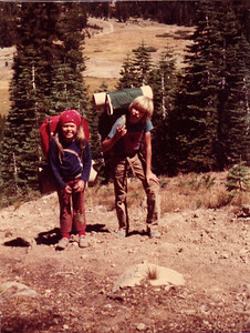 Backpacking to Peter Grubb Hut in the Sierras. 1981?  We made several trips there.  Once, we stayed at the hut for a whole week.