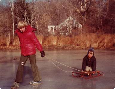 Chris and Mojo on the pond in Danvers.  Dec 1978