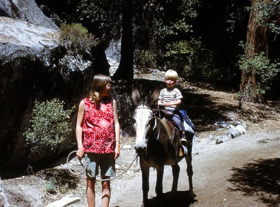 May 14, 1972 in Yosemite. I am 8 months pregnant, and Chris is almost 3 years old.  We are on the train from Mirror Lake.