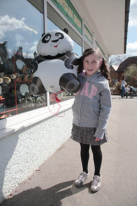 Rose at Chester zoo - with the inflatable panda that was very soon to make a bid for freedom