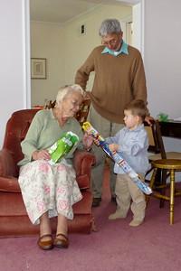 Joey showing Great-Grandma his new kite