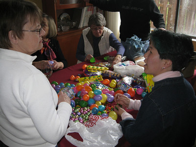 Making the Easter eggs.