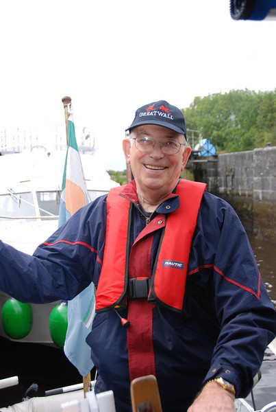 """17th August 2008....Ed & Mary enjoy a day on the River Shannon with Paul & Mary on Paul's boat """"Arthur""""."""