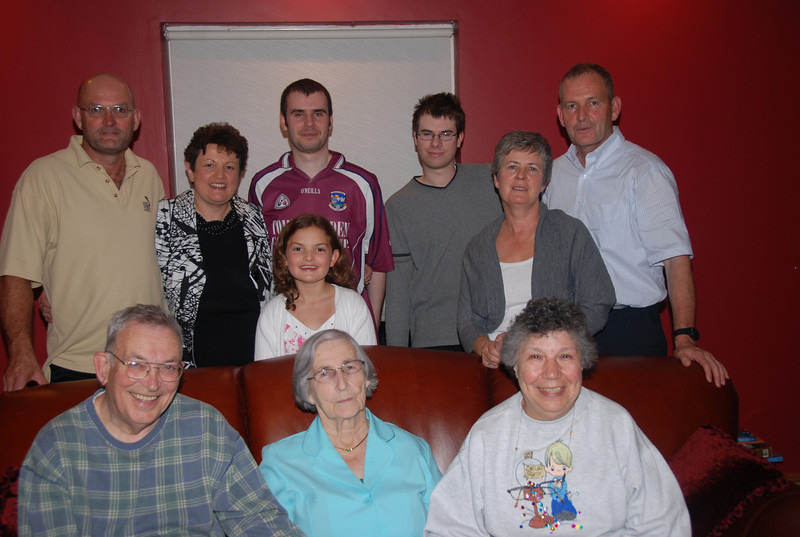 Ed & Mary with Bridie Lydon and some of her family (and Ed's cousins!) including, left to right:<br /> Martin Lydon with his wife Martina and their daughter Niamh;<br /> Paul Jun & Mark Scannell, sons of Mary & Paul;<br /> Mary Scannell (nee Lydon); Stephen Lydon