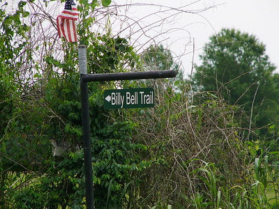 You can watch for the Billy Bell Trail sign at the turning. -Virginia Forgatsch
