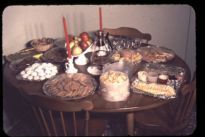 Open house. Table of goodies