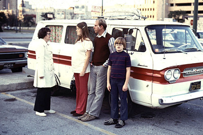 Texas Pat Kathy Jay and John in front of Corvair Greenbrier van on Texas trip.