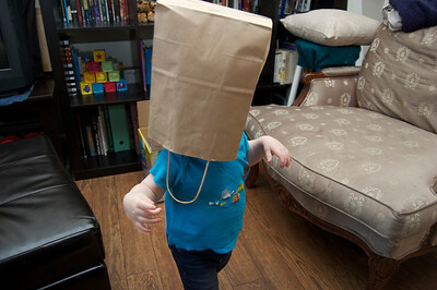 Edmund likes walking around with a paper bag on his head.