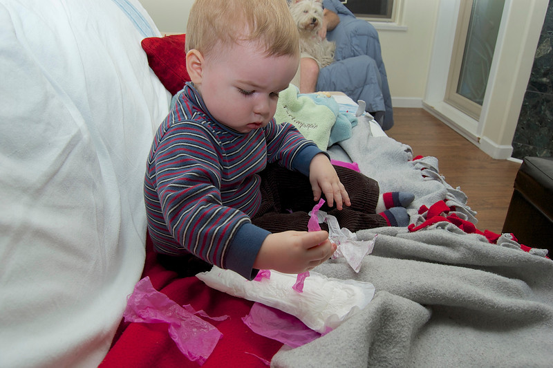 Edmund working meticulously on his first piece of artwork