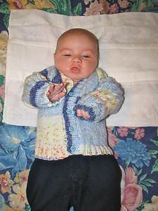 Edmund in a cardigan knitted by his great aunt Jenny