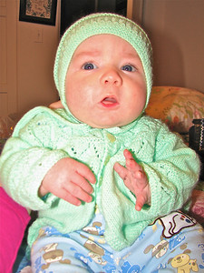 Edmund in his daddy's knitted outfit