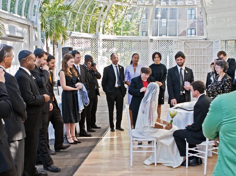 Ketubah signing ceremony, inside Palm House, before wedding
