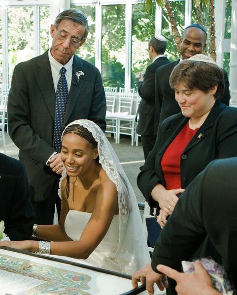 Steve, Eva, Rabbi, at Ketubah signing