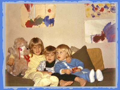 "1969 ? - Anna Lisa, Ivan & Lydia Jean (with my dog, ""Octaside""!)  in playroom in our old Doylestown house"
