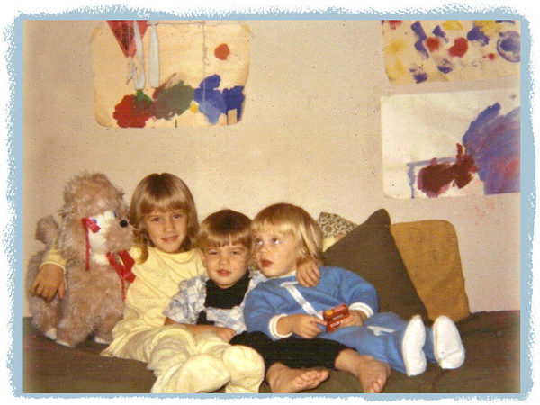 "[Previous image with frame] 1969 ? - Anna Lisa, Ivan & Lydia Jean (with my dog, ""Octaside""!) in playroom in our old Doylestown house"