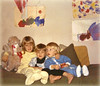 """1969 ? - Anna Lisa, Ivan & Lydia Jean (with my dog, """"Octaside""""!) in playroom in our old Doylestown house"""
