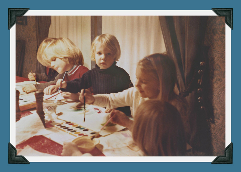 Sophie & Beatrix painting with cousins - winter or early spring '83