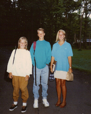 Sept., 1991 - Sophie, Ash & Bea on first day of school