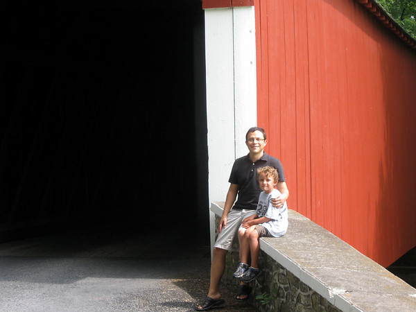Mike & Xavier at  Knecht's Bridge, near Springtown PA