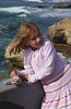 """Abigail with her new harbor seal """"pet"""""""