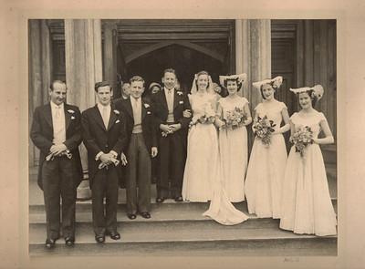 1951 Ray and Patricia Mathews wedding photo outside church NET