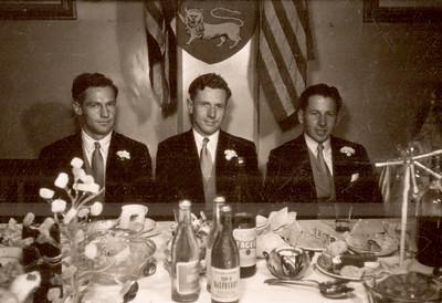 1951 Pat and Ray Mathews wedding - Jim McIvor, John Mathews and Ray Mathews a NET