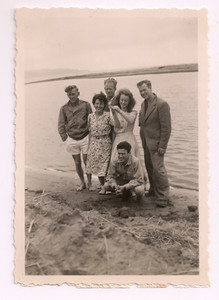 1947 Eileen Satherley and  Patricia Maylen with Prize Catch - Labour weekend at Paraparaumu camp NET