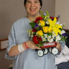 Bobbie with gorgeous flowers from my co-workers