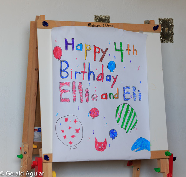 The birthday poster that Abby made for the twins.