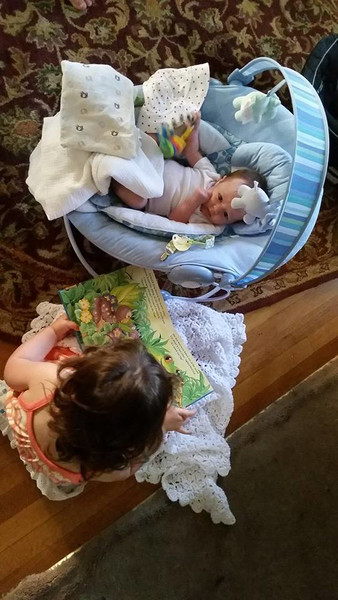 "Annie ""reading"" to Ellie"